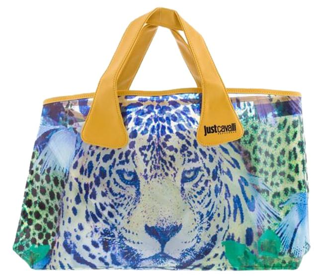 Item - Animal Print Large Tote Clear Vinyl Beach Green and Yellow Vynil Shoulder Bag
