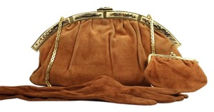 Judith Leiber Kisslock Evening Gloves Cognac Brown Clutch