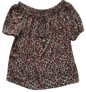 Moda International Vs Leopard Top Brown & Black