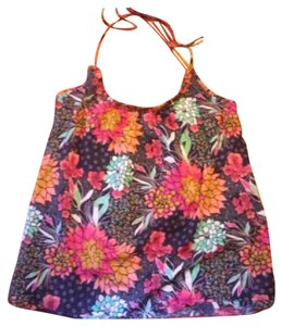 Red Camel Floral Top Multicolored