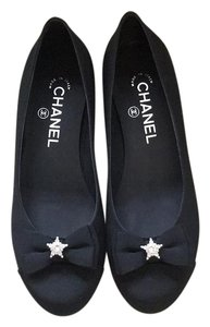 Chanel Black Crystal Star Bow Flats