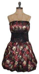 bebe Strapless Bustier Brocade Textured Dress
