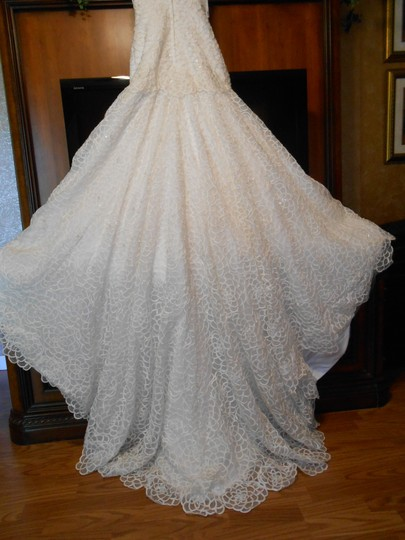 Tony Bowls Ivory/Silver Lace/Tulle T211282 Modern Wedding Dress Size 4 (S)