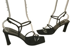 Nine West Foot Straps Covered Square Toe Ankle Straps Black fabric sequins Sandals