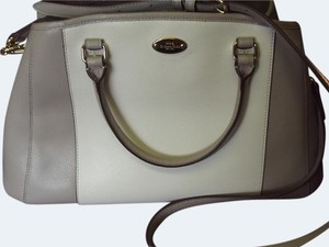 Coach Margo Crossbody Shoulder Satchel in Taupe/ chalk white/ Gold tone