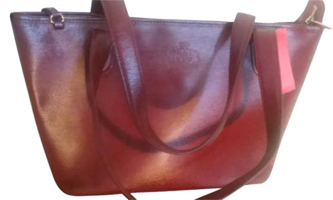 Item - Dark By Red Leather Tote