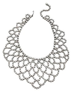 Kenneth Jay Lane Kenneth Jay Lane Women's Metallic Scalloped-lace Crystal Bib Necklace