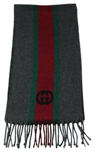 Gucci 319956 Unisex Green, Red, Green Webstripe Wool Scarf, Multicolor