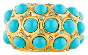 Kenneth Jay Lane Kenneth Jay Lane Turquoise and Crystal Cabochon Cuff Bracelet