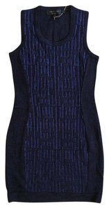 Rag & Bone Metallic Royal Blue Bodycon Knit Stretch Dress