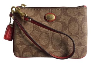 Coach Wristlet in Signature PVC Leather with Red Leather Trim