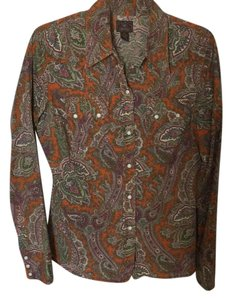 Lucky Brand Button Down Shirt Orange, green, pink multi