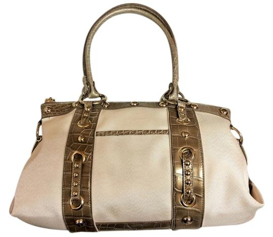 Kathy Van Zeeland Date Night White Cream Studded Fabric Leather Satchel in Champagne and Metallic Green