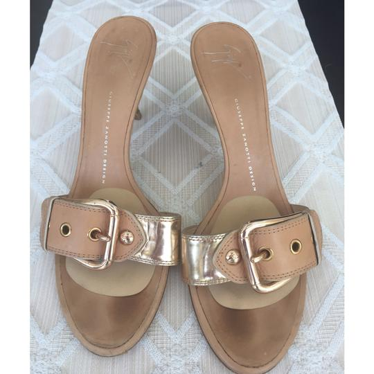 Giuseppe Zanotti Tan natural leather with rose gold buckle Mules