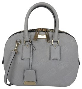 Burberry Orchard Embossed Check Leather Satchel in Stone White