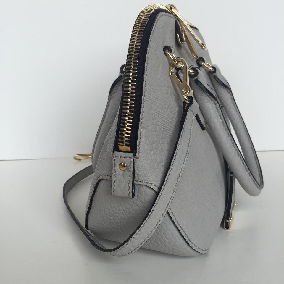 36f8a592a582 Burberry Small Orchard Embossed Check Bowling Stone White Leather Satchel -  Tradesy