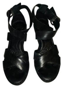 Børn Leather Wedge Comfortable BLACK Sandals