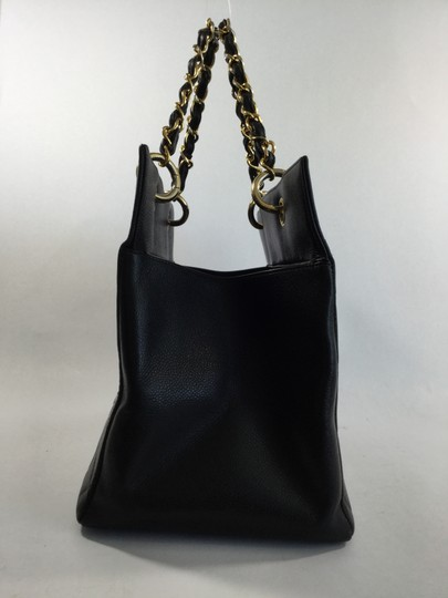 Chanel Caviar Leather Quilted Shopper Tote in Black