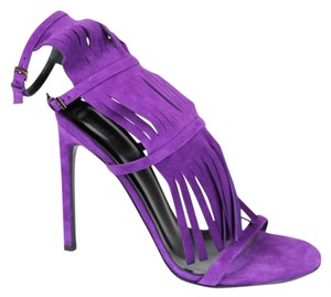 Gucci Fringe Suede Becky Gladiator 347284 Purple Sandals