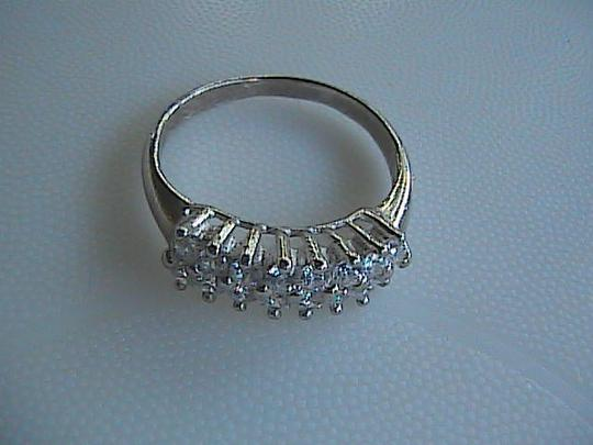 Other Beautiful Sterling Silver Cluster CZ Band Ring