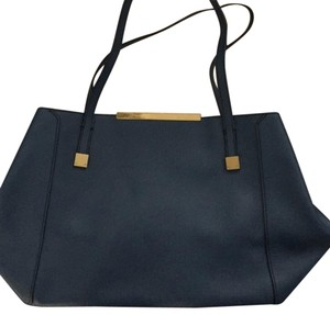 J.Crew Faux Leather Work Tote in Blue