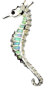 Sterling Silver Seahorse Inlay Abalone Necklace