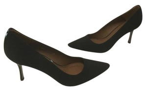 Donald J. Pliner Patent Heels Lining Soles Padded Insoles Made Spain Black fabric and leather Pumps