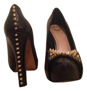 Vince Camuto Studs Studded Patent Black leather Pumps