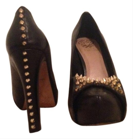 Vince Camuto Studs Studded Patent Leather Gold Black Bow Black leather Pumps