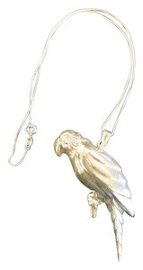 Sterling Silver Parrot Large Parrot Pendant almost 3 inches in Length,Nice.925 box Chain 16 inches long