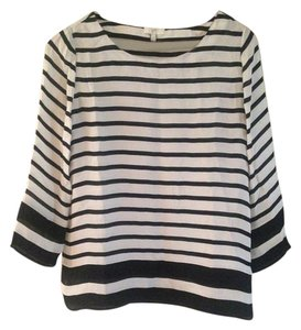 Joie Silk Striped Paris Chic Top Black and White