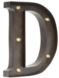 Brown Marquee Metal Letter Initial Monogram Several Letters Letter D Rustic Lighted Led Reception Decoration