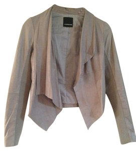 Trouvé Leather Asymmetric Gray Leather Jacket