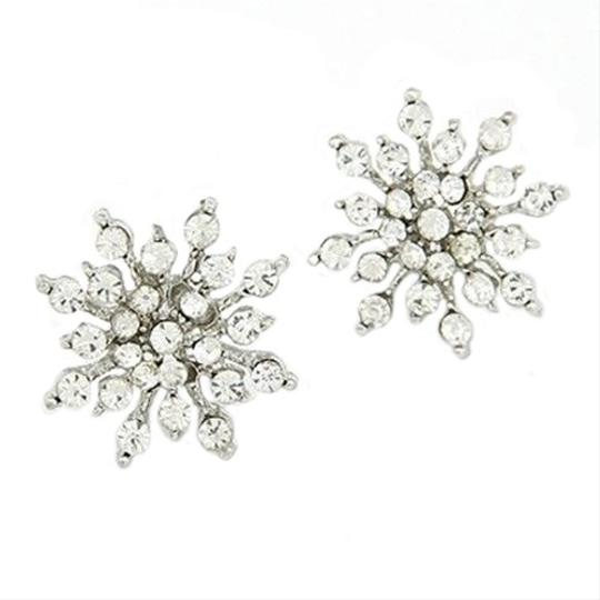 Snowflakes Bride Crystal Cz Zircon Plated Silver Ball Earrings