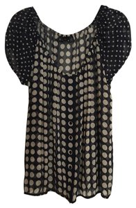 INC International Concepts Top Navy and cream/light tan dots
