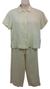 Eileen Fisher EILEEN FISHER LIGHT YELLOW LINEN PANT SET S M