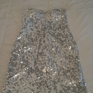 Lily Rose Sequin Silver Strapless Dress