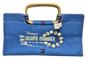 Tommy Hilfiger Summer Cane Wooden Denim Satchel in Blue