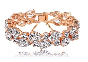 Bridal Rose Gold Zircon Bracelet