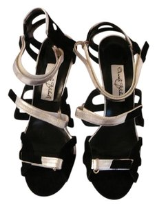 Manolo Blahnik 39.5 Chanel 39.5 Black and Silver Sandals