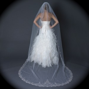 Bella Tiara Ivory Long Dramatic Embroidered Edge Cathedral Bridal Veil