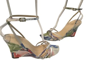 Kate Spade Floral Pattern Open Toe Italian Multi color fabric with leather Wedges