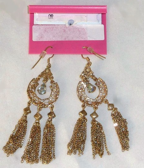 Betsey Johnson Authentic NWT Betsey Johnson Crystal Multi Chain Chandelier Earrings