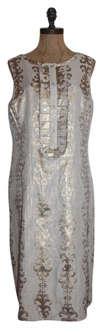 Item - Beige Gold Knee Length Night Out Dress Size 12 (L)
