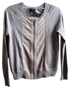 Banana Republic Silk Zip-up Mixed Media Cardigan