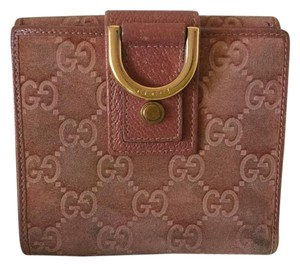 Gucci Guccissima Pink Suede Leather Card Holder Bi-fold Wallet