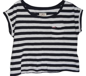 Hollister Crop T Shirt Black & White
