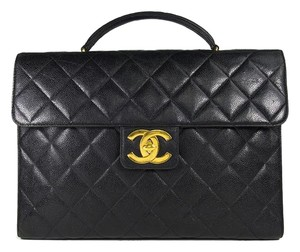 Chanel Briefcase Caviar Skin Work Tote in black