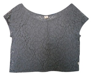Hollister Lace Crop T Shirt Gray