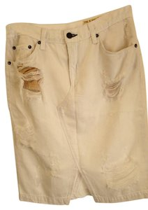 Rag & Bone Grungy Chic & Pencil Wash Skirt white